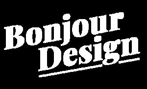 bonjour design logo startseite weiss